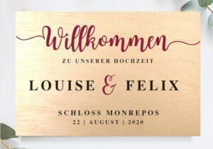 MyLouise Hochzeitsshop Personalisiertes Willkommensschild Holzschild zur Hochzeit