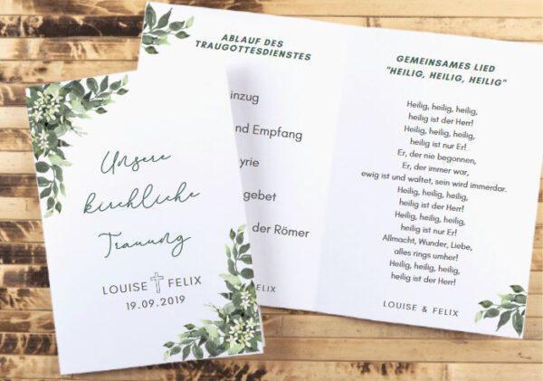 MyLouise Hochzeitsshop Personalisierte Kirchenheft zur Hochzeit