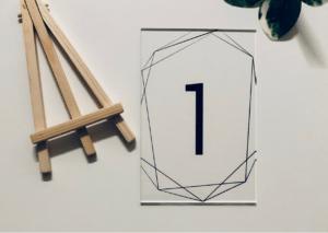 MyLouise Hochzeitsshop Tischnummern aus Acryl Acrylglas zur Hochzeit