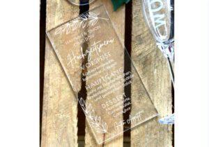 www.mylouise-hochzeitsshop.de Acryl Speisekarte Menükarte Acrylglas zur Hochzeit
