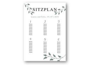 MyLouise Hochzeitsshop Personalisierter Sitzplan zur Hochzeit