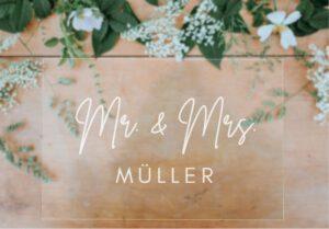 MyLouise Hochzeitsshop Acrylschild zur Hochzeit