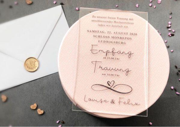 MyLouise Hochzeitsshop Save The Date Karte aus Acryl Acrylglas