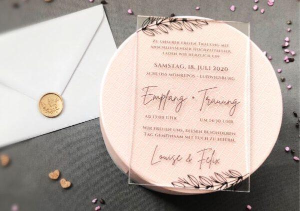 MyLouise Hochzeitsshop Hochzeitseinladung aus Acryl Acrylglas