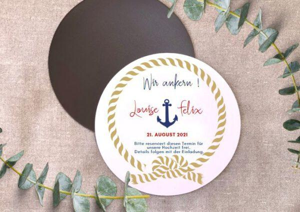 MyLouise Hochzeitsshop Personalisierte Save the Date Magnet zur Hochzeit