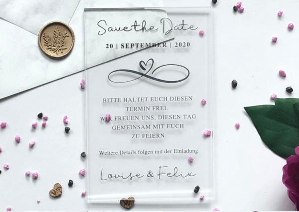 MyLouise Hochzeitsshop Save the Date Karte aus Acryl zur Hochzeit