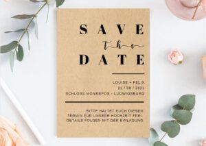 www.mylouise-hochzeitsshop.de Save the Date Karte Kraftpapier braun