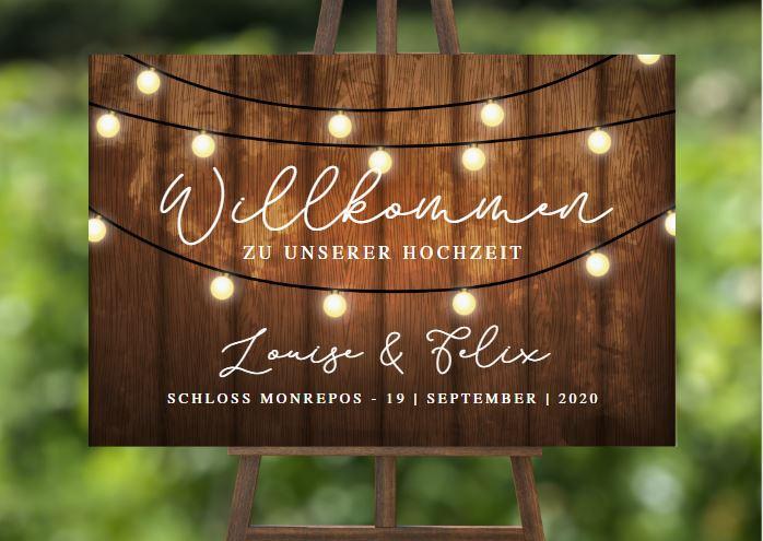 MyLouise Hochzeitsshop Personalisiertes Willkommensschild zur Hochzeit