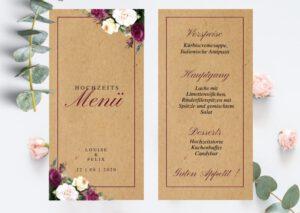 www.mylouise-hochzeitsshop.de Menükarten Hochzeit Speisekarten Kraftpapier