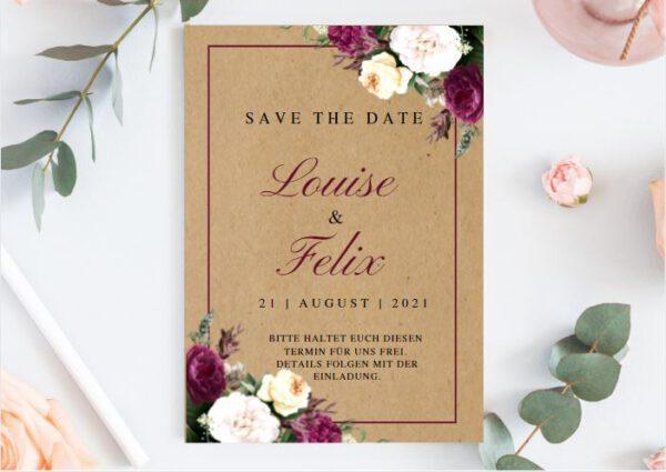 www.mylouise-hochzeitsshop.de Save the Date Karte Kraftpapier Hochzeit