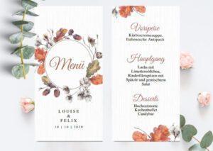 www.mylouise-hochzeitsshop.de Menükarten Hochzeit Speisekarten