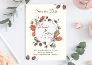 www.mylouise-hochzeitsshop.de Save the Date Herbst Hochzeit Herbst