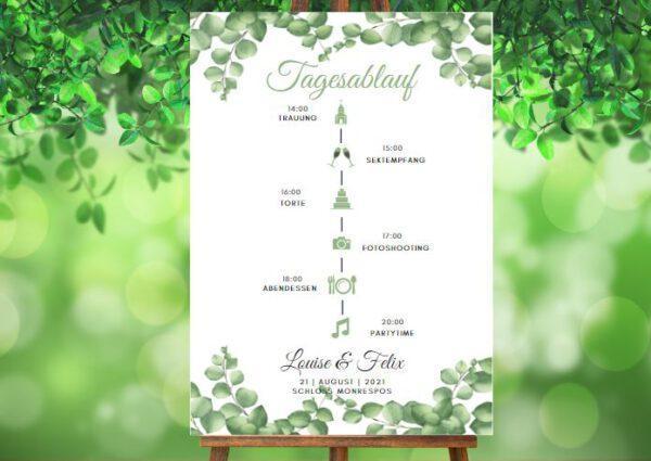 www.mylouise-hochzeitsshop.de Tagesablauf zur Hochzeit Timeline