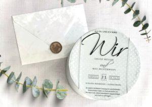 www.mylouise-hochzeitsshop.de Acrylglas Hochzeitseinladung aus Acryl