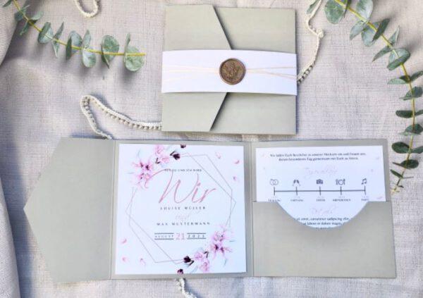 www.mylouise-hochzeitsshop.de Pocketfold Hochzeitseinladung Pocketfold