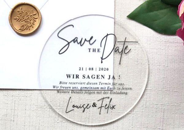 www.mylouise-hochzeitsshop.de Acrylglas Hochzeit Save the Date Karte aus Acryl