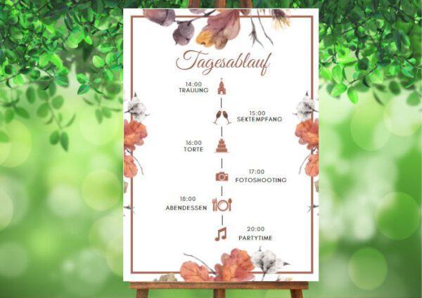 www.mylouise-hochzeitsshop.de Tagesablauf zur Herbsthochzeit Timeline