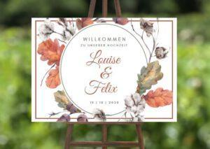 www.mylouise-hochzeitsshop.de Willkommensschild zur Herbsthochzeit