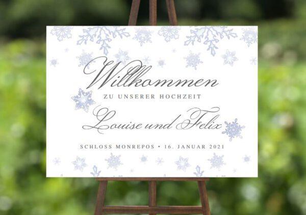 www.mylouise-hochzeitsshop.de Willkommensschild zur Winterhochzeit