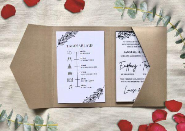 www.mylouise-hochzeitsshop.de Pocketfold Einladung Hochzeit Acryl Einladung