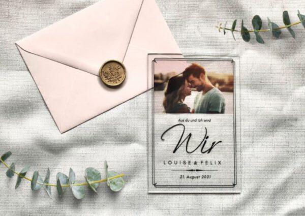 www.mylouise-hochzeitsshop.de Einladung aus Acryl Hochzeitseinladung Acryl