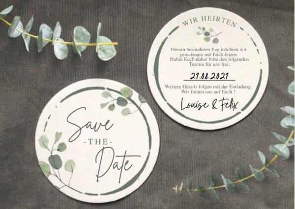www.mylouise-hochzeitsshop.de Bierdeckel Hochzeit Save the Date Bierdeckel