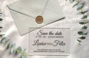 www.mylouise-hochzeitsshop.de Save the Date Acryl Karte Hochzeit Acryl